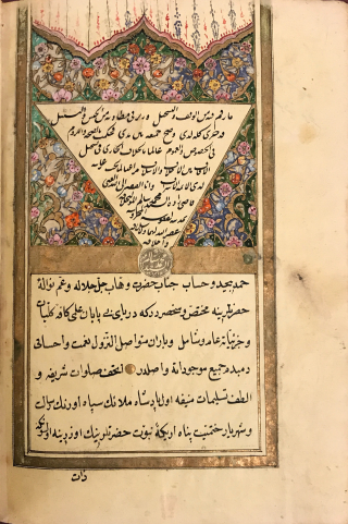 Single page of Arabic-script text in black ink with occasional use or red ink for catchwords, surrounded by a border in gold. The top of the page features a triangular illumination showing comprise of small floral image all very detailed, painted in red, blue, green, purple, black and gold inks
