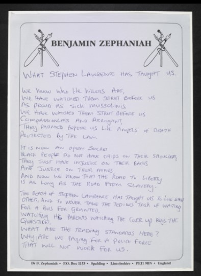 Poem handwritten in blue ink on headed paper, printed with Bemjamin Zephaniah's name and two images of pens and microphones intertwined.