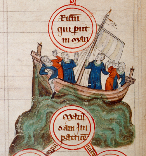 A detail from a medieval manuscript, showing an illustration of the White Ship.