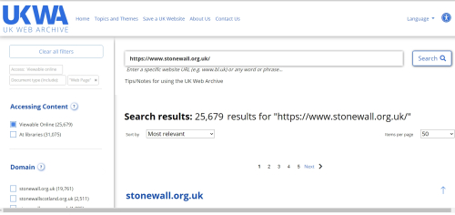 UKWA search results page