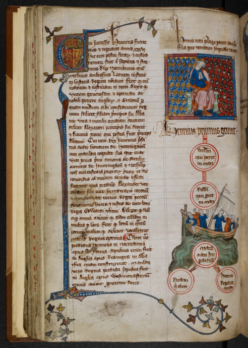 A medieval manuscript page with an illustration of Henry I and the White Ship