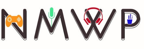 The New Media Writing Prize logo: showing NMWP with a games controller, microphone, headphones and pens