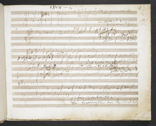 Beethoven's 'Pastoral' Symphony sketchbook. At the bottom of the page Beethoven has written: 'Sinfonia caracteristica oder Erinnerungen an das Landleben' ('Characteristic symphony, or memories of country life').