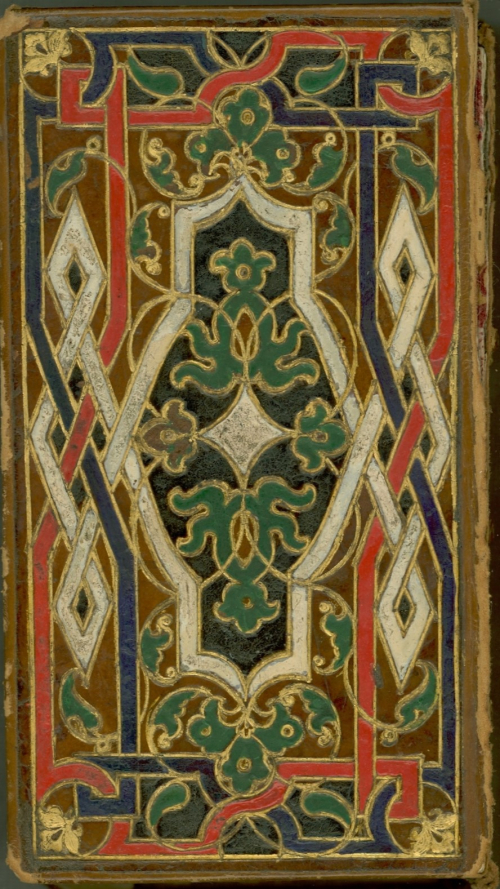 Front cover of Juan Boscán, Las Obras de Boscan... with colourful, decorative bindings