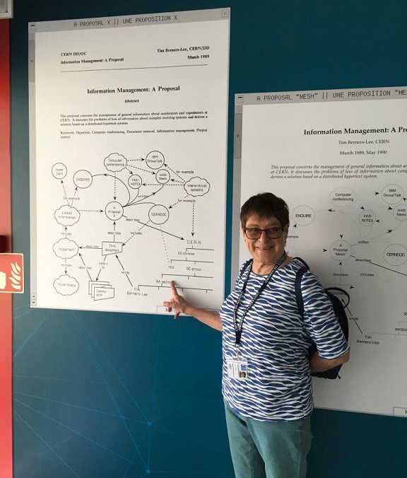 Peggie Rimmer in 2019, indicating her Read-Out Architecture RA section on the first of the three proposals for what became the World Wide Web