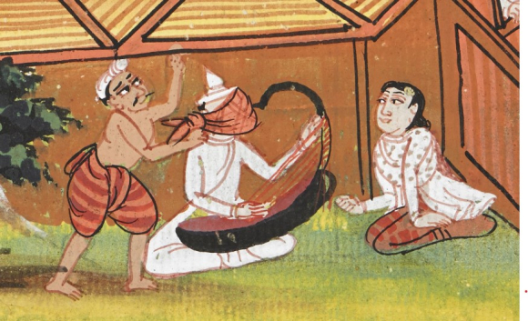 A blindfolded Brahmin plays the harp to his wife, while her lover hits him from behind. Mss Burmese 202, f. 75v