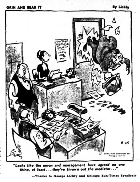 Image of cartoon stripe from the newspaper The Guild Reporter published on September 26, 1952