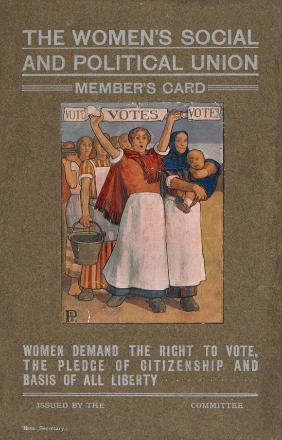 Women's Social and Political Union membership card from the scrapbook of Maud Arncliffe Sennett