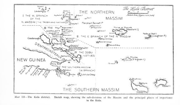 "Malinowski's map of the ""Kula District"". The Trobriand Islands are just to the left of the text reading ""The Northern Massim"""