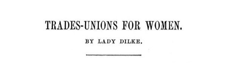 Header for article titled 'Trades Union for Women'