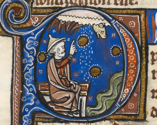 A seated philosopher pointing up to a cloud above from which snowflakes fall down and from which emerges an animal's head with a fiery breath, probably representing lightning.