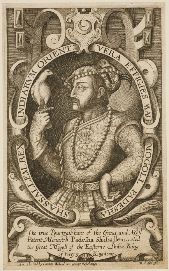 n engraving by Renold Elstrack of the Emperor Jahangir, holding a hawk