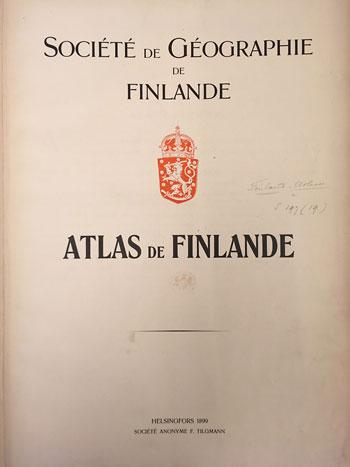 Atlas de Finlande, title page