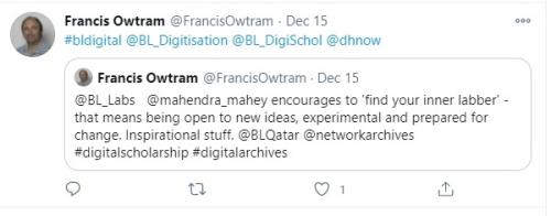 Francis Owtram Tweet