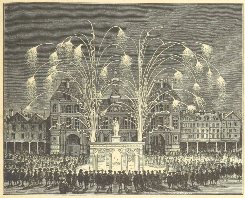 A 17th-century firework display outside the Hotel de Ville in Paris