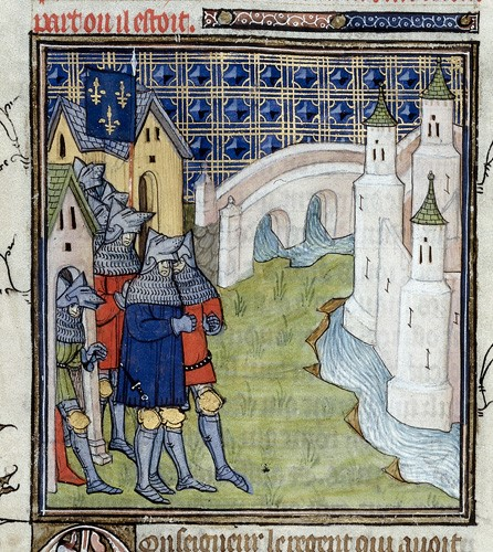 A manuscript image of knights in armour blockading Paris, with a landscape including the Seine and a bridge behind