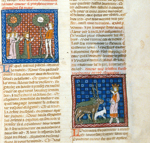 A manuscript image of the trees of the Sun and the Moon and wild beasts being presented to Alexander