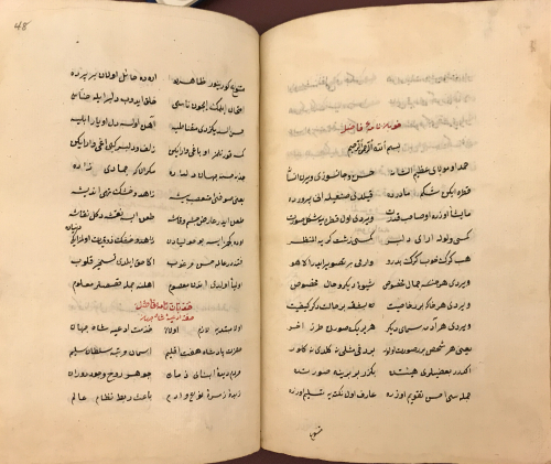 Double-page spread of text in black ink in Arabic script arranged in two columns per page, with headers in red ink