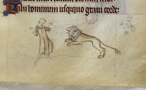 Scene of a lion attacking a man from The Queen Mary Psalter