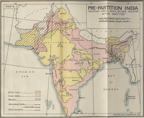 Map of India taken from Report on the last Viceroyalty 1947