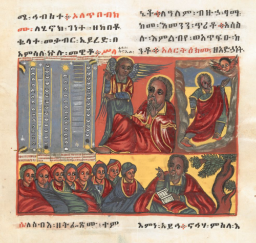 Multiple scenes in frames including one showing small child talking to older man; man talking to an angel; man speaking to an assembled group under a tree, all in full colour, under text in Geez script in black and red ink