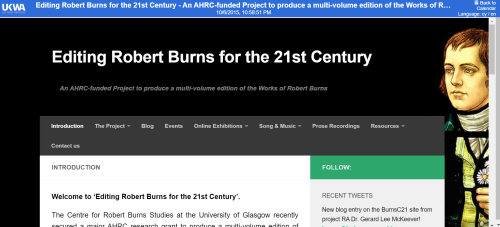 'Editing robert burns' website