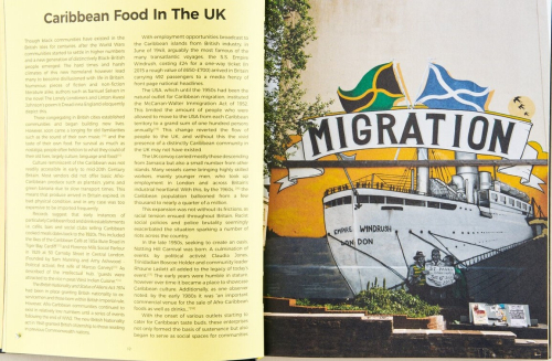 An open book, with a page of text on the left about 'Caribbean Food in the UK' and a mural of the Empire Windrush on the right.