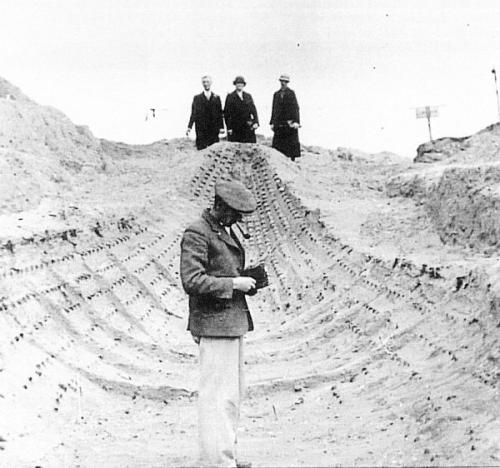 Basil Brown in the Sutton Hoo ship-burial