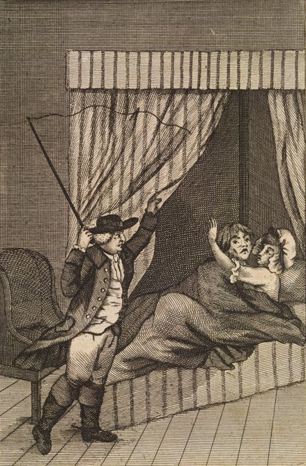 Two lovers in bed caught in the act by a husband holding a whip