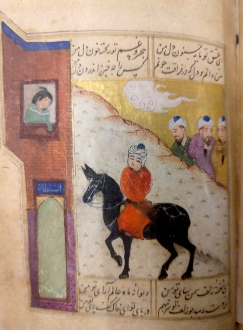 The mule leads Amir Ahmad back to Mahsati  f. 70a