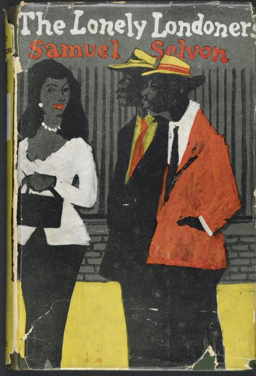 Book cover of The Lonely Londoners depicting a woman and two men, all smartly dressed. The woman is wearing a white blouse, white jewellery and black skirt; both men are wearing jackets, ties and hats.