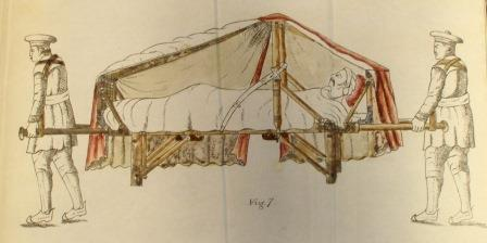 Patient being carried in a doolie - a type of stretcher with a canvas roof