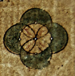Pinprick pivot holes in the paper made during the creation of decorative composite roundels, in a sermon from Kerinci, Jambi, probably written in the 1830s. EAP117/9/1/3
