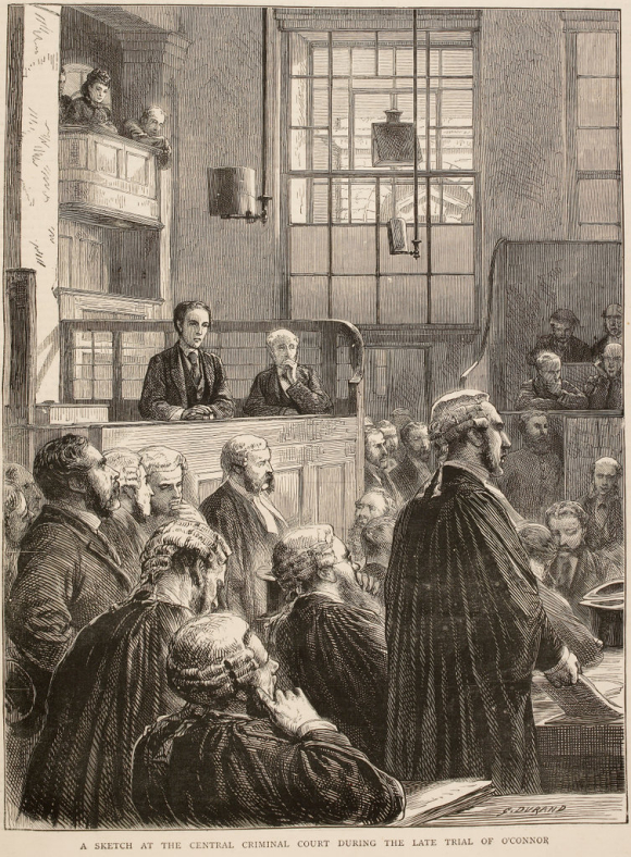Scene of a trial at the Old Bailey in 1872 showing a young man in the dock