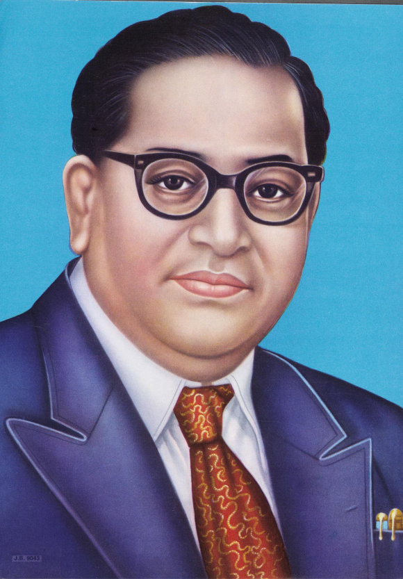 Popular colour print depicting Dr Ambedkar, shown wearing glasses and in a European suit and tie.
