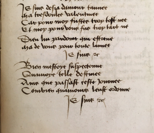 Beginning of Charles' poem 'Je suis desja d'amour tanné', in a copy of his personal manuscript