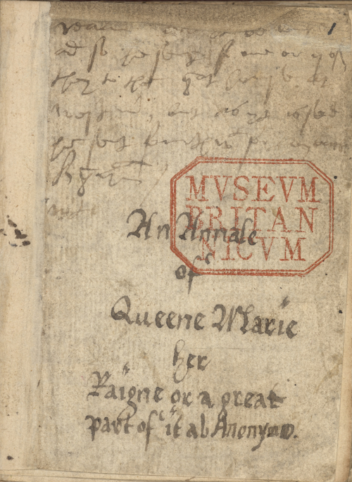 The opening page of the Chronicle of Queen Jane, entitled 'An Annale of Queen Marie her Raigne or a great part of it ab Anonymo', written in brown ink.