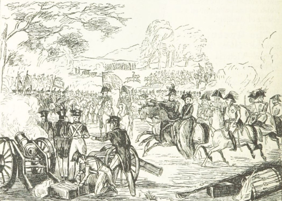 Army review on Woolwich Common 1841 showing soldiers, horses and cannons