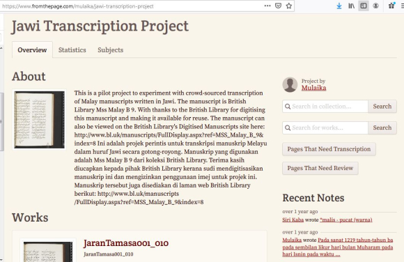 The Jawi Transcription Project, initiated by Dr Mulaika Hijjas of SOAS to romanise the Malay poem Syair Jaran Tamasa, British Library, MSS Malay B.9