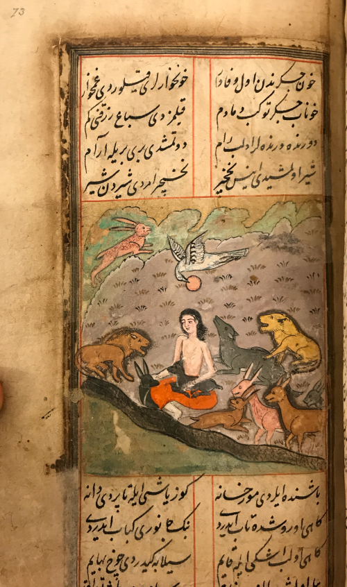 Zoomed image of painting of bare-chested man seating among a collection of different animals in a river-side setting, in full colour. Above and below the image is Arabic-script text in black ink arranged into two columns with a thin red border inside a thicker gilt border