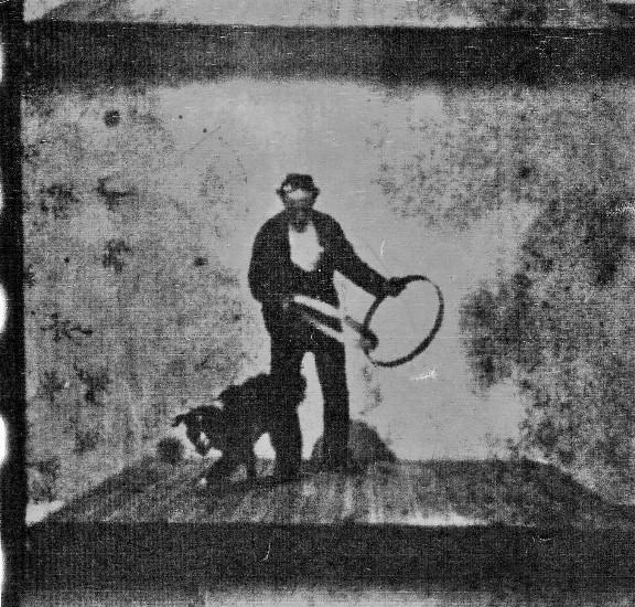 Frame still from 1895 dancing dog film
