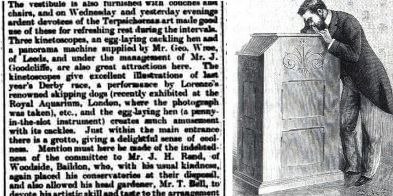 Wharfdale and Airedale Observer newspaper article and a Kinetoscope