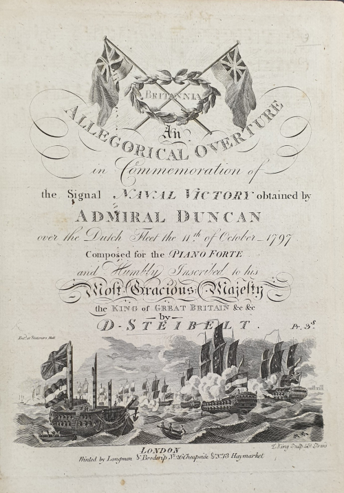 Title page of Longman & Broderip's edition of Daniel Steibelt's Britannia depicting a naval scene inspired by the Battle of Camperdown