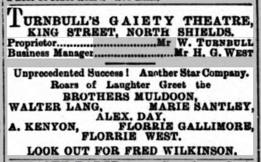 Advert for Turnbull's Gaiety Theatre Shields Daily News 1 October 1886