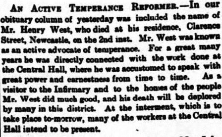 Obituary for Henry West Newcastle Daily Chronicle 5 July 1890