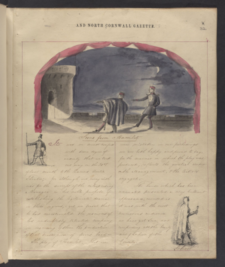 A scene from Hamlet in The Queen's Illuminated Magazine and North Cornwall Gazette,