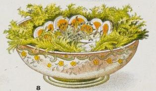 Egg salad arranged in an elegant dish