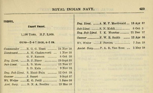 Navy List 1939 - entry for E G G Hunt in the ship Indus
