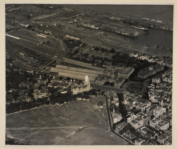 Aerial view of Municipal Offices and Victoria Terminus  Bombay
