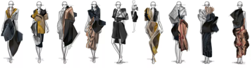 A series of nine sketches showing Chiara Lamon's designs in black, gold and bronze.